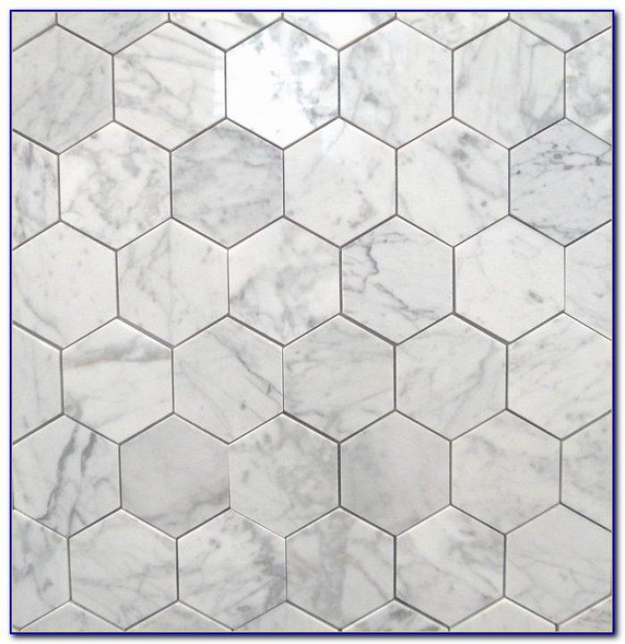 Hexagon Carrara Marble Mosaic Tile Tiles Home Design