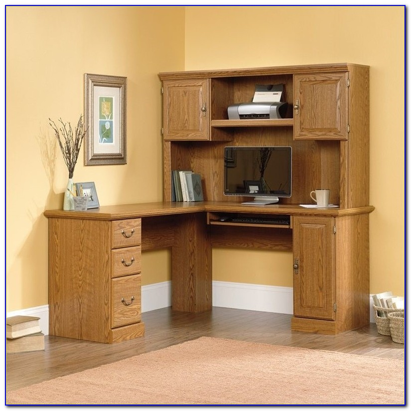 Sauder Harbor View L Shaped Computer Desk With Hutch
