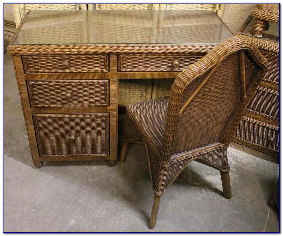 Vintage Wicker Desk And Chair  Desk  Home Design Ideas