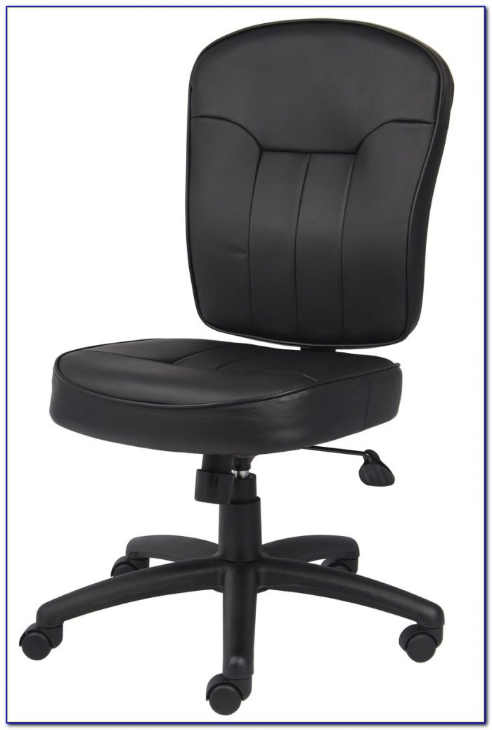 Brown Leather Office Chair Armless  Desk  Home Design
