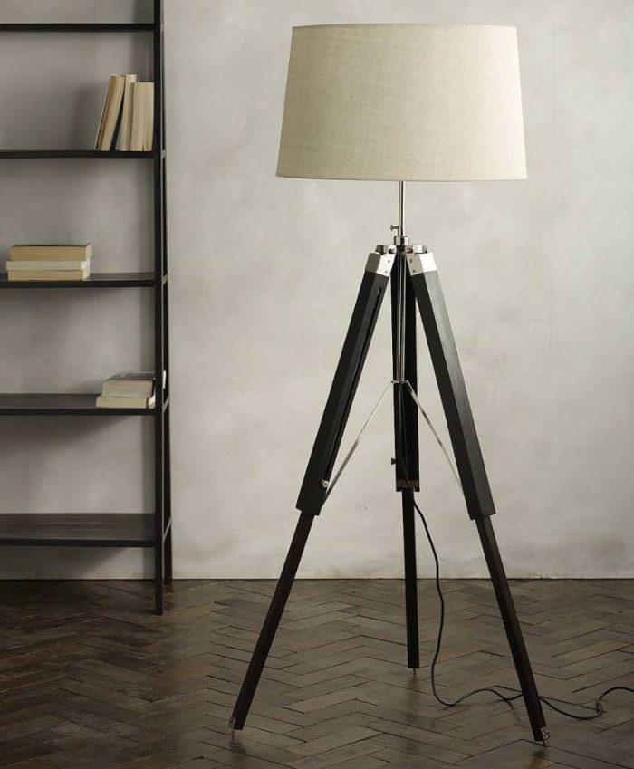 Photographers Tripod Floor Lamp Antique Nickel Finish