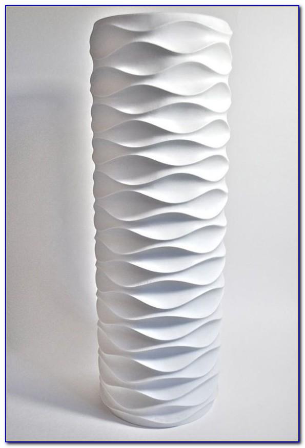 Tall White Ceramic Floor Vase
