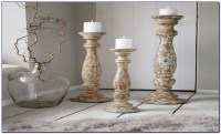 Wood Floor Pillar Candle Holders