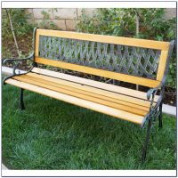 Wood And Cast Iron Bench - Bench : Home Design Ideas # ...
