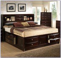 King Size Platform Bed Bookcase Headboard
