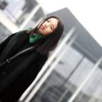 :: Outfit – Long Black Coat and Forest Green Fake Fur Vest