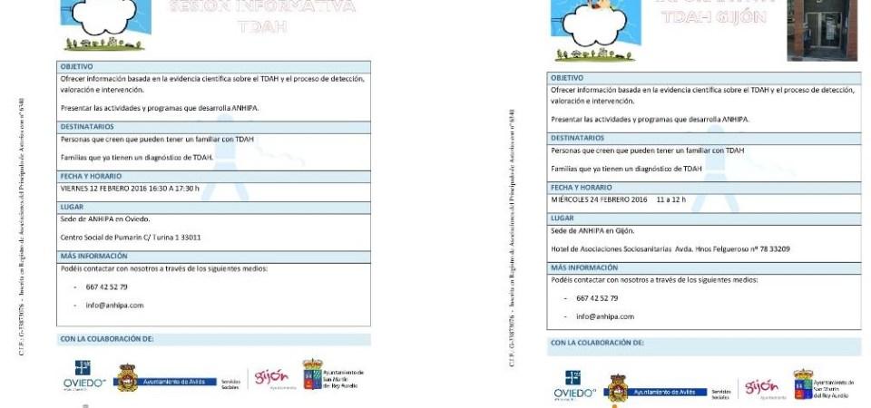 Nuevas Sesiones Informativas sobre El TDAH durante el mes de febrero en Oviedo y en Gijón