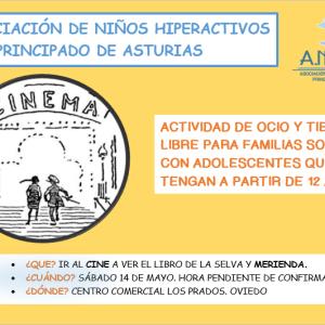 Sesión de Cine con los adolescentes el sábado 14 de mayo en Oviedo