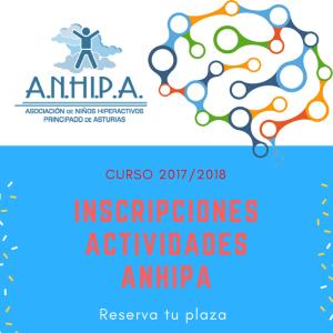 ABIERTO EL PERIODO DE INSCRIPCIÓN ACTIVIDADES ANHIPA CURSO 2017/2018