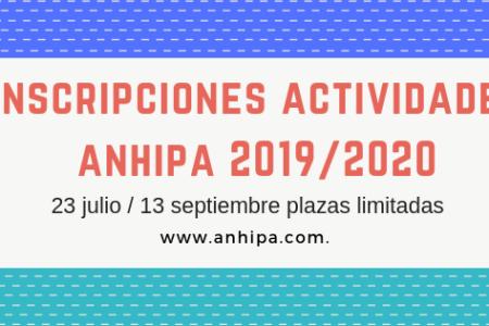 INSCRIPCIÓN ACTIVIDADES ANHIPA CURSO 2019/2020