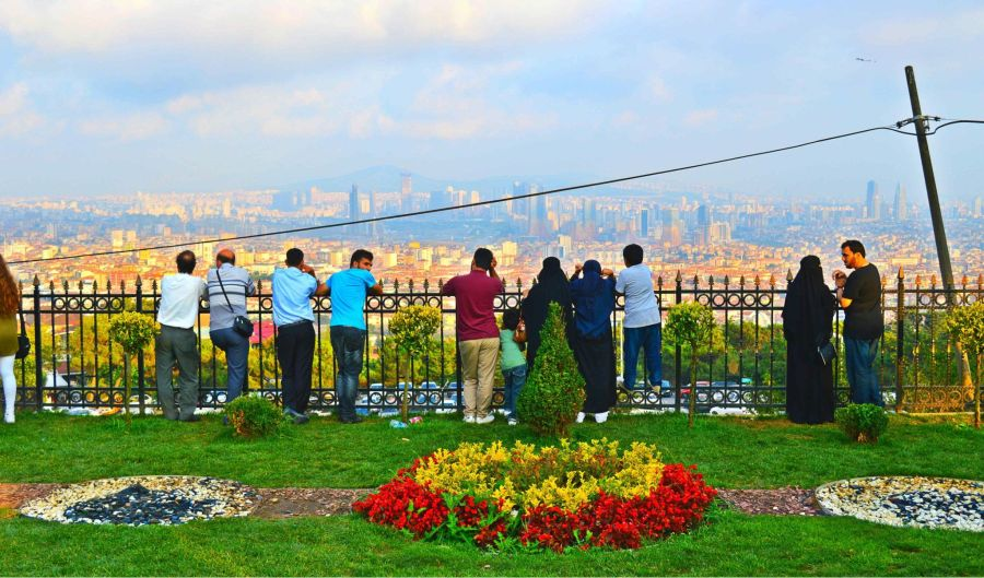 Enjoying the panoramic views from Çamlıca Hill.
