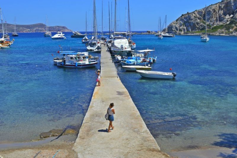 The relaxing beautiful see in Knidos, Turkey.