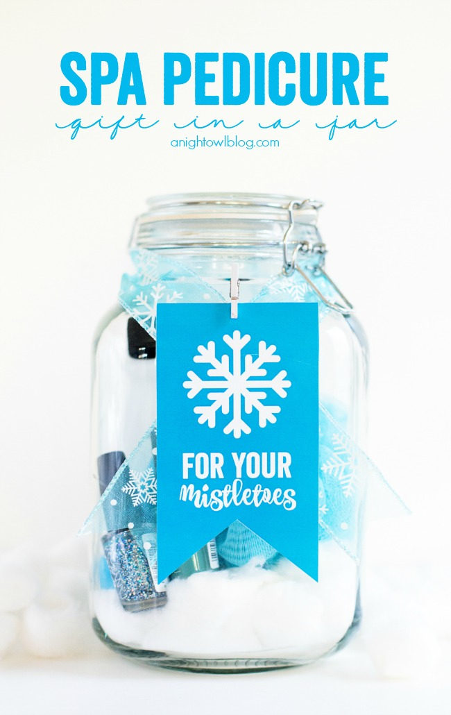 spa pedicure gifts in a mason jar