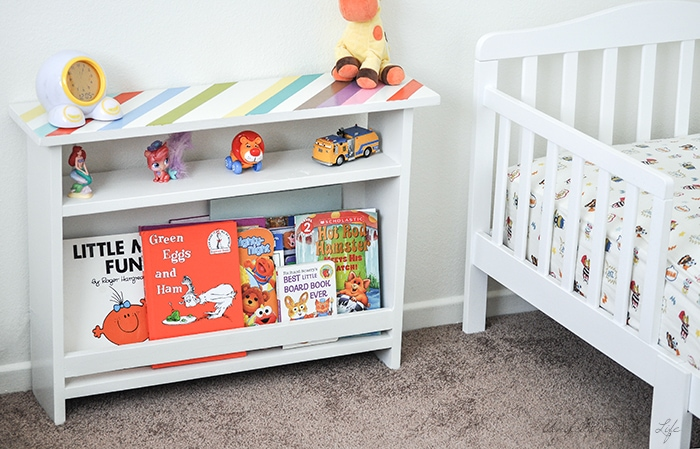 kids bedside table with book storage