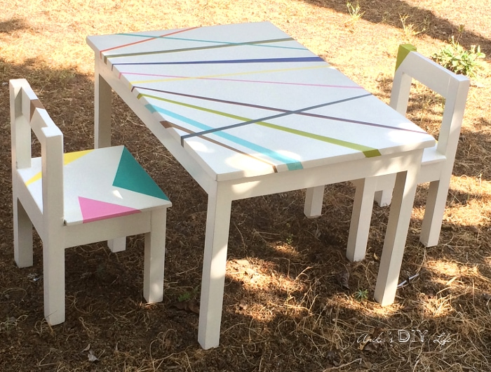 kids table with chairs faux leather club chair easy diy and set free plans anika s life build an this simple tutorial can be completed