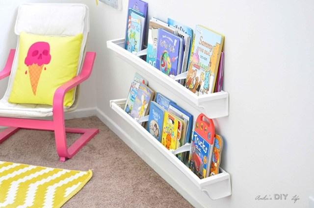 How to build rain gutter bookshelves