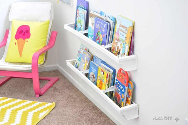 How to build rain gutter bookshelves