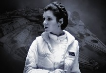 Carrie Fisher como la princesa Leia Organa en Star Wars.
