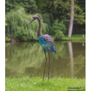 heron en metal animal decoratif stylise exterieur decoration jardin
