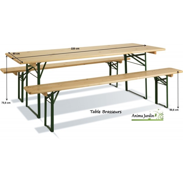 table banquet pliable avec bancs en bois et metal set brasseurs