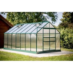serre de jardin en polycarbonate aluminium vert 10 37m habrita pas cher