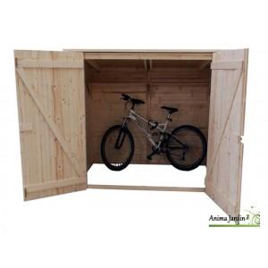 abri mural en bois range velo scooter moto grand volume foresta