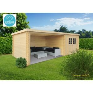 abri de jardin en bois traite autoclave rohan toit plat emboitable 2 portes solid pas cher