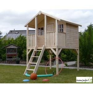 cabane en bois surelevee sur pilotis 3m toit deux pentes abri enfant solid pas cher achat vente