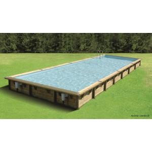 piscine linea 11 x 5m x h140cm rectangulaire entourage bois ubbink qualite achat vente pas cher