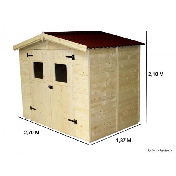 abri de jardin en bois 16 mm 3 70 m avec plancher foresta achat vente pas cher