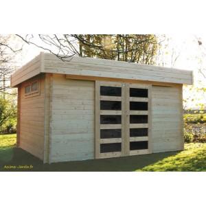 abri de jardin en bois 40 mm viborg toit plat 11 89m solid pas cher