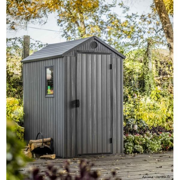 abri de jardin en resine darwin 46 1 9 m gris aspect bois avec plancher keter achat pas cher