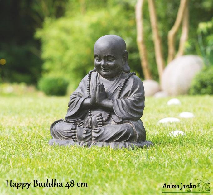 Statue Happy BUDDHA 48 Cm En Fibre De Verre Aspect Pierre