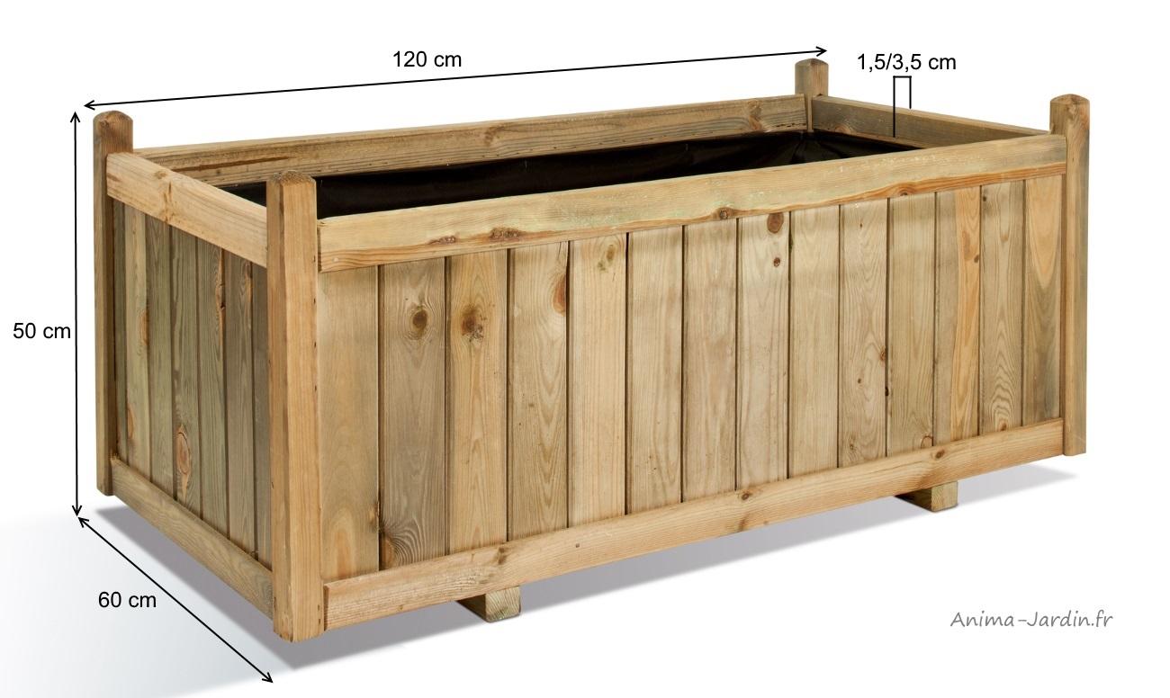 jardiniere 120 cm vendome bois autoclave bac a fleurs plantes pas cher achat vente