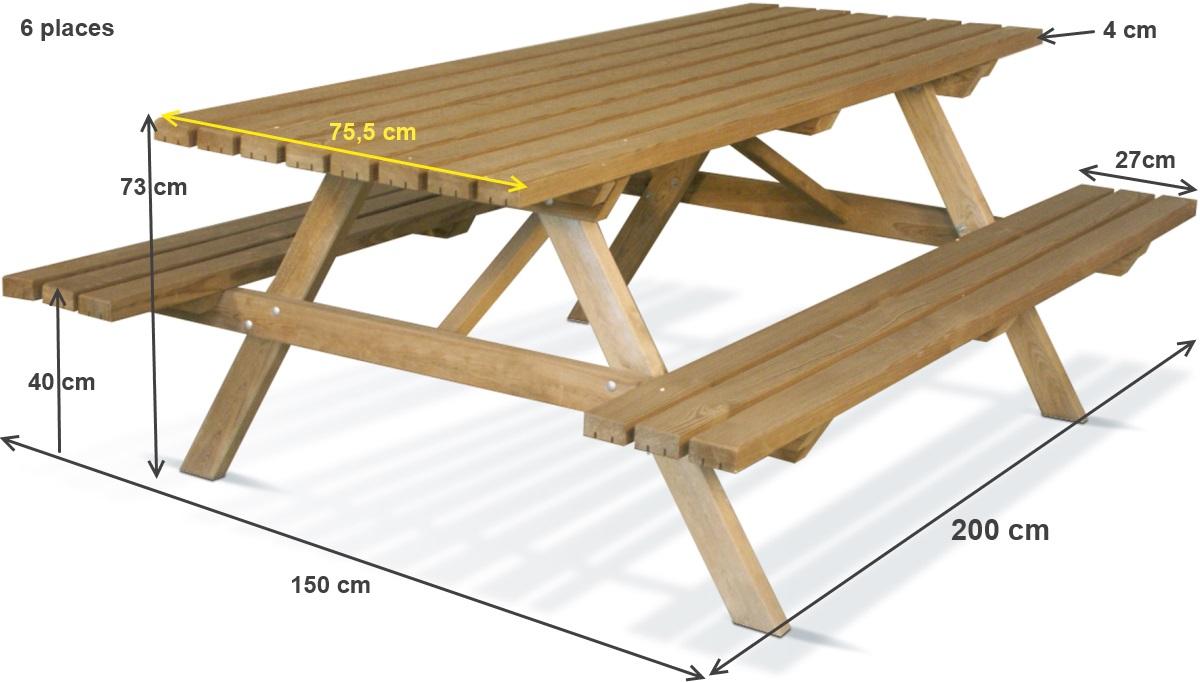 table pique nique en bois forestiere 200x75 cm achat vente pas cher