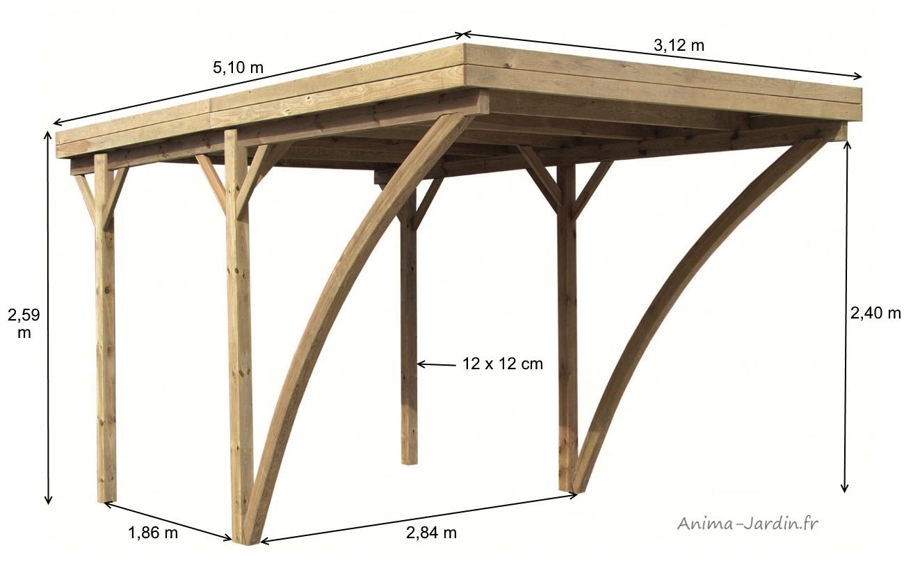 carport en bois autoclave 5x3m