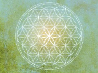 Wandbilder, Flower of live, Blume des Lebens, blau, grün, gelb und weiss, Harmonisierung vom Mensch und Raum, Seelenwellness, wandbilder online
