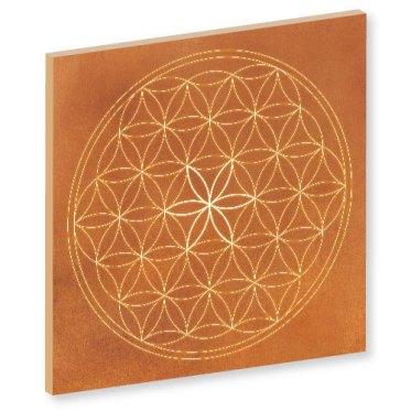 Blume des Lebens orange, orange, orange kraft, sand, Harmonisierung vom Mensch und Raum, Wandbild, Feng Shui Bild, Wanddeko, Leinwandbild, Farbwirkung