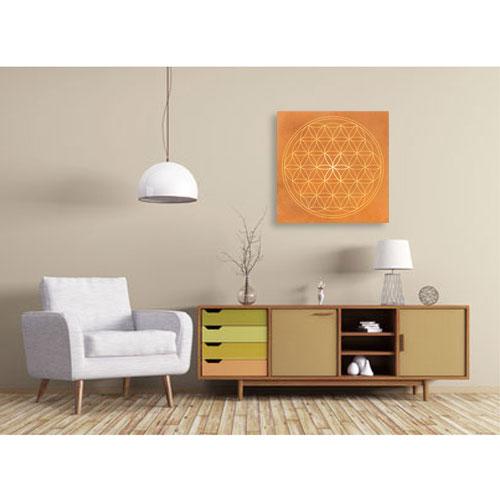 Wandbild Blume des Lebens orange, Blume des Lebens, orange, orange kraft, sand, Harmonisierung vom Mensch und Raum, Wandbild, Feng Shui Bild, Wanddeko, Leinwandbild, Farbwirkung