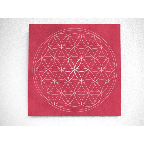 Blume des Lebens, pink, weiss, Harmonisierung vom Mensch und Raum, Wandbild, Feng Shui Bild, Wanddeko, Leinwandbild, Farbwirkung