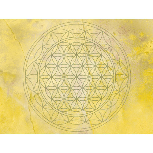 Blume des Lebens Gelb, Bilder kaufen, Gelb, Heiterkeit, Farbpsychologie, Wandbilder, Wandbilder Gelb, Feng Shui Südwesten, Feng Shui Bagua Südwesten, bessere Wohnatmosphäre