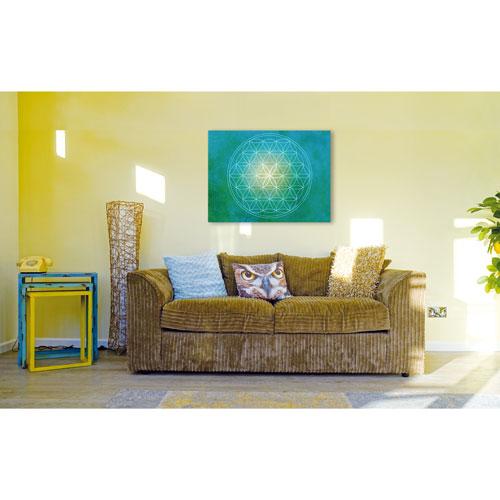 Wandbild Türkis, Blume des Lebens, grün blau, green, gruen, gelb, Wandbild, Feng Shui Bild, Wanddeko, Leinwandbild, Farbwirkung, Blumen des Lebens, blaugrün, Wandbild Wohnzimmer, Wandbild Schlafzimmer