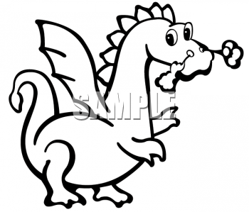 Black and White Clipart Picture of a Cute Dragon