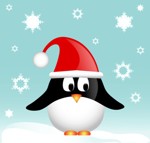 Cute Christmas Penguin with Santa Hat