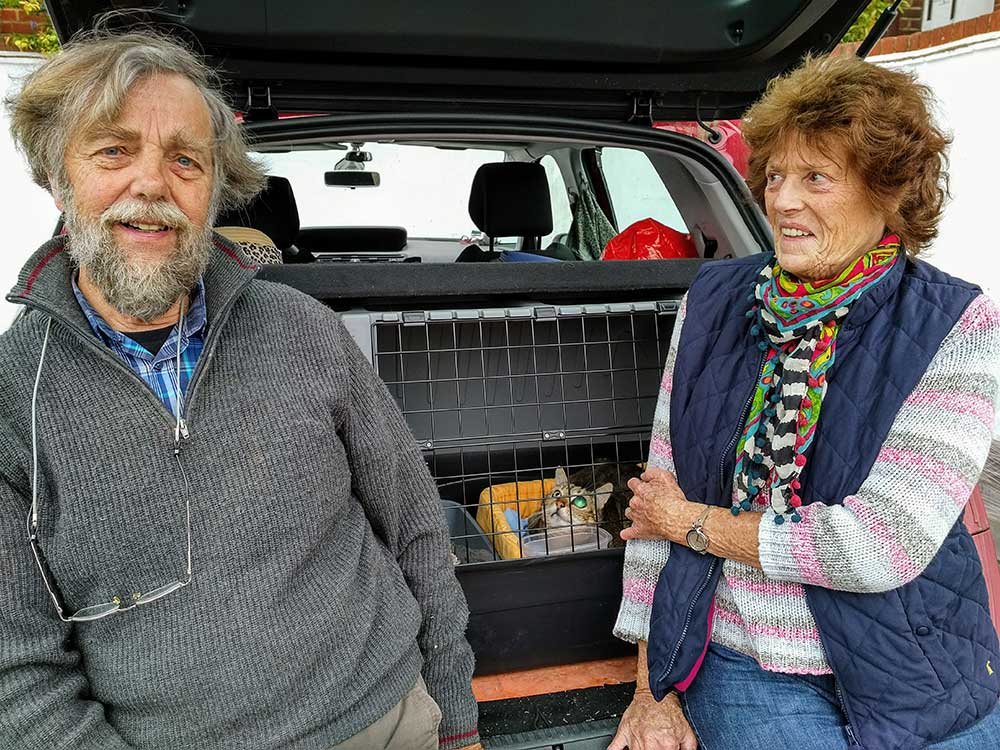 Stephen and Drusilla with Rubble, making sure she was settled in for the drive to Elgin