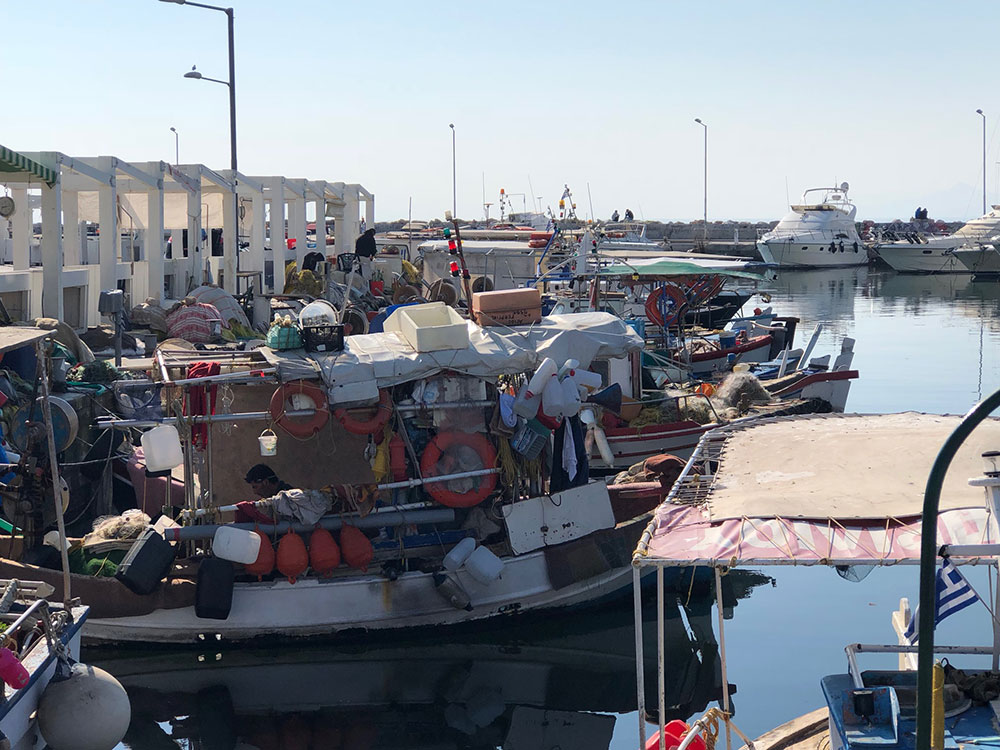 There was a time for a walk along the seafront in Glyfada, where we enjoyed the sights and sounds of a local fish market. With fishing over for the day, the fishermen had time to mend nets and chat.