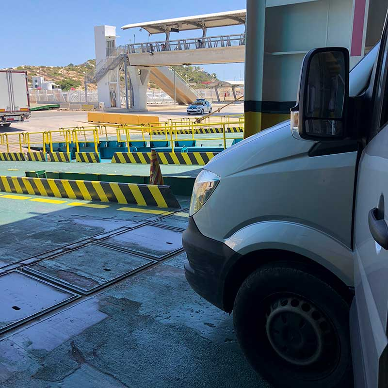 It was 29C by the time we boarded the ferry to mainland Spain. After some negotiation, we were invited to place our vans in the shady spot where horse boxes go.
