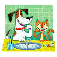Dog-cat brushing teeth