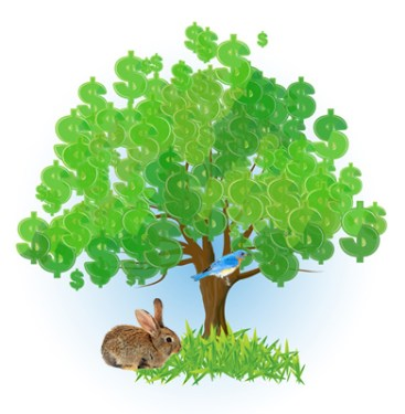 Tree with Bunny Rabbit & Bluebird