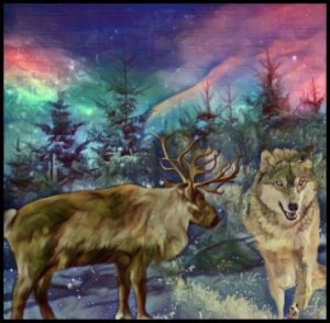 Caribou & wolf ghosts